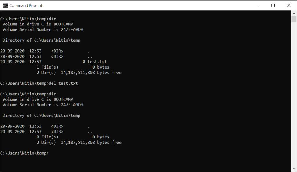 Windows Command Line Delete Folder DEL delete file